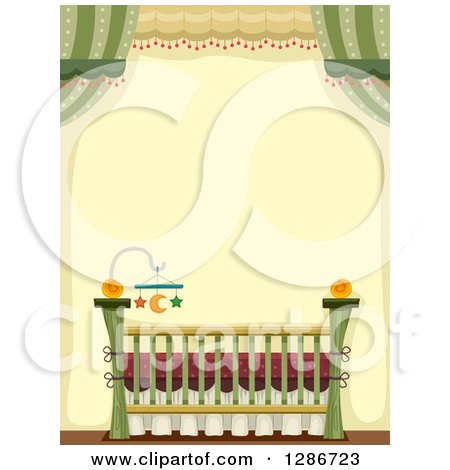 Clipart of a Baby Crib with a Star and Moon Mobile in a Green and Yellow Room - Royalty Free Vector Illustration by BNP Design Studio
