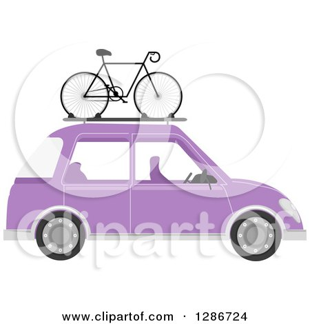 Clipart of a Bicycle Mounted on Top of a Purple Car - Royalty Free Vector Illustration by BNP Design Studio