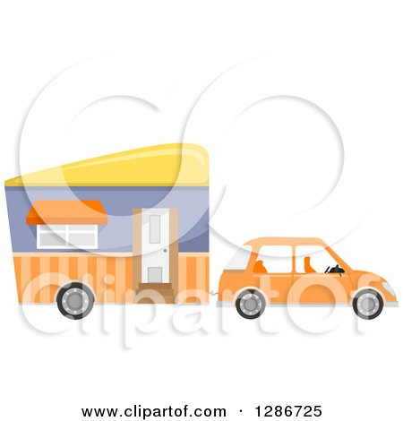 Clipart of a Compact Orange Car Towing a Mobile House - Royalty Free Vector Illustration by BNP Design Studio