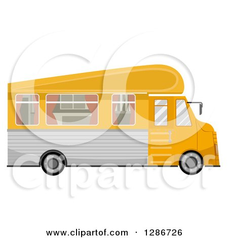 Clipart of a Yellow Trailer Home Vehicle - Royalty Free Vector Illustration by BNP Design Studio