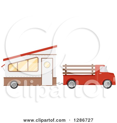 Clipart of a Red Pickup Truck Towing a Trailer House - Royalty Free Vector Illustration by BNP Design Studio