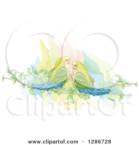 Clipart of a Watercolor of Love Virds on Branches - Royalty Free Vector Illustration by BNP Design Studio