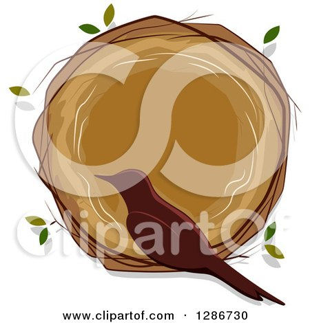 Clipart of a Brown Silhouetted Bird Sitting on the Rim of an Empty Nest - Royalty Free Vector Illustration by BNP Design Studio