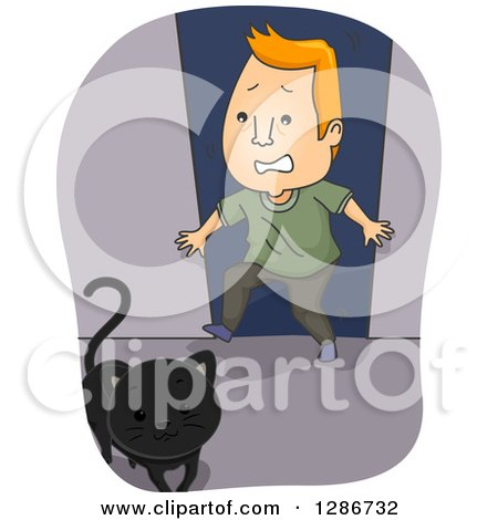 Clipart of a Black Cat Crossing a Scared Superstitious Red Haired White Man's Path - Royalty Free Vector Illustration by BNP Design Studio