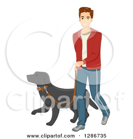 Clipart of a Happy Young Brunette Caucasian Man Walking a Dog - Royalty Free Vector Illustration by BNP Design Studio