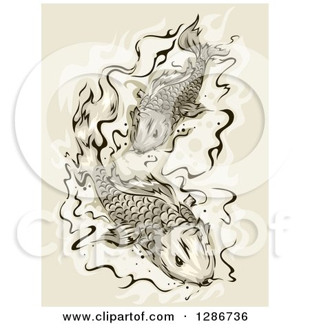 Clipart of a Pair of Koi Fish Swimming - Royalty Free Vector Illustration by BNP Design Studio