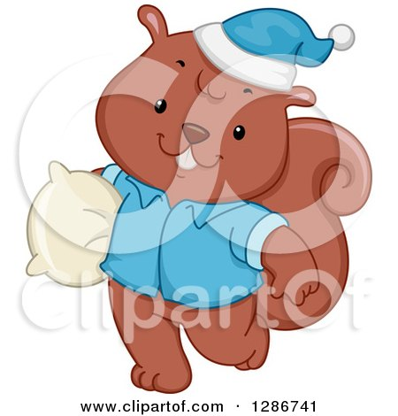 Clipart of a Happy Squirrel in Pajamas, Carrying a Pillow - Royalty Free Vector Illustration by BNP Design Studio