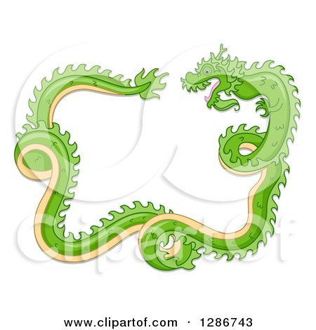 Clipart of a Green Chinese Dragon Curling and Forming a Frame - Royalty Free Vector Illustration by BNP Design Studio