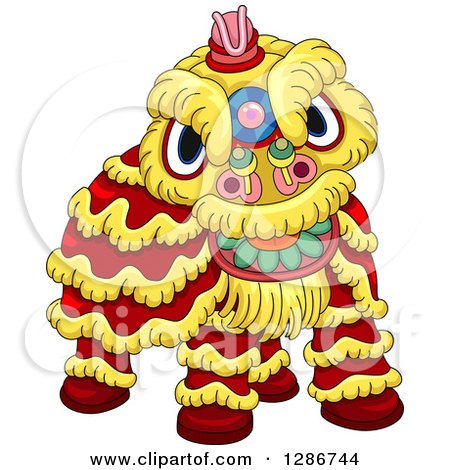Clipart of a Chinese Lion Dance Costume - Royalty Free Vector Illustration by BNP Design Studio