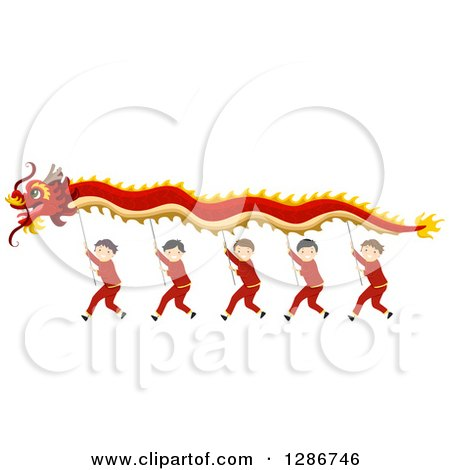 Clipart of Chinese Boys Performing a New Year Dragon Dance - Royalty Free Vector Illustration by BNP Design Studio