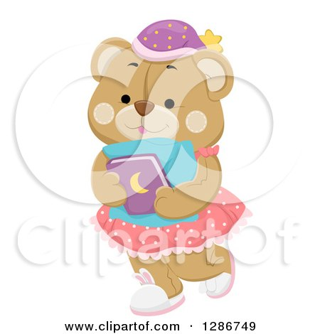 cute pillow clipart. cute female teddy bear carrying a bed time story book and pillow clipart