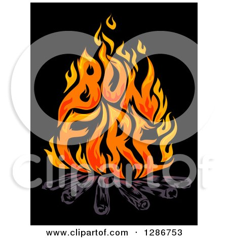 Clipart of Flames Spelling out Bon Fire over Logs on Black - Royalty Free Vector Illustration by BNP Design Studio