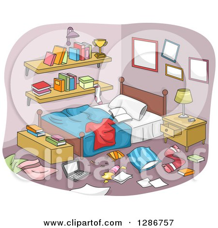 Clipart of a Messy Boy's Room with Clothing and Items All over the Floor - Royalty Free Vector Illustration by BNP Design Studio