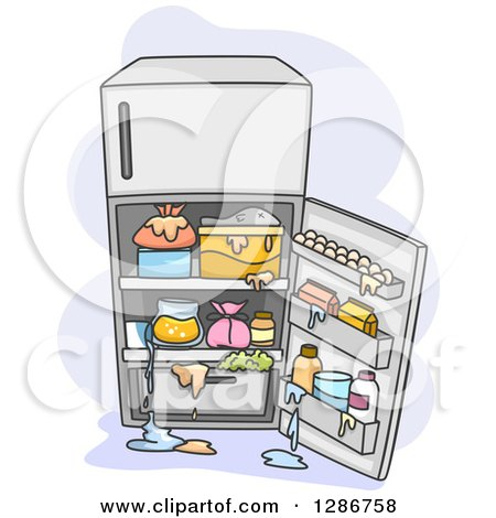 Clipart of an Open Messy Refrigerator with Spills - Royalty Free Vector Illustration by BNP Design Studio