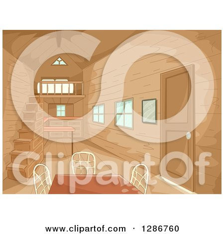 Clipart of a Small Wooden Home Interior with a Table - Royalty Free Vector Illustration by BNP Design Studio
