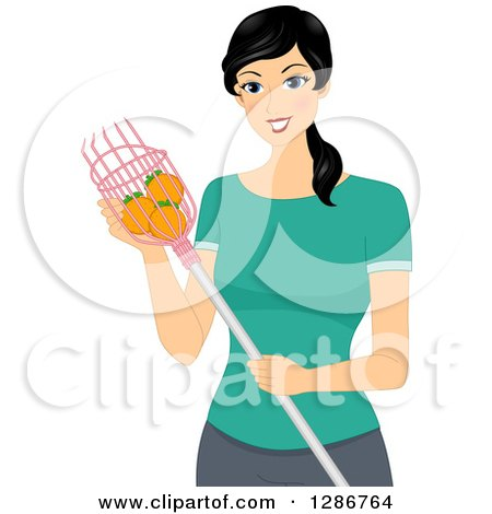 Clipart of a Happy Asian Woman Using a Fruit Picker and Collecting Oranges - Royalty Free Vector Illustration by BNP Design Studio