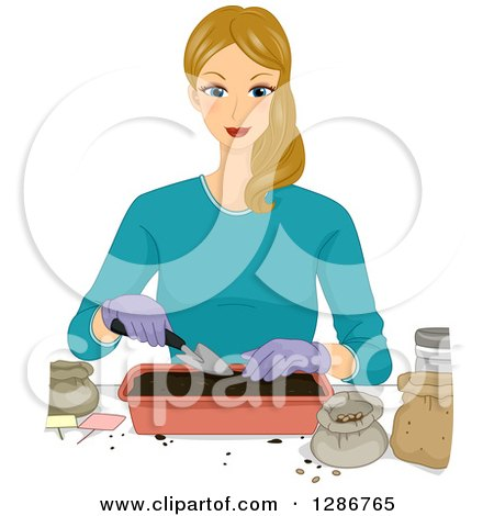 Clipart of a Blond White Woman Putting Soil in a Seedling Plant Tray - Royalty Free Vector Illustration by BNP Design Studio