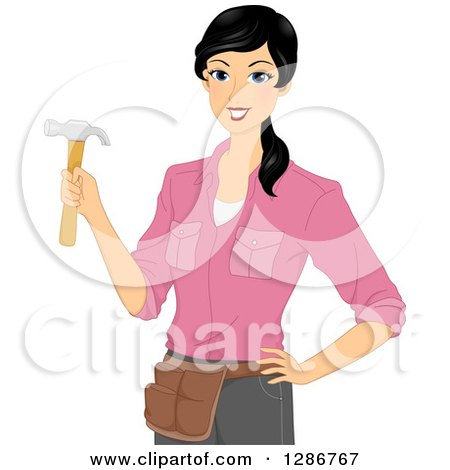 Clipart Of A Happy Young Asian Woman Holding A Hammer And Wearing A Tool Belt Royalty Free Vector Illustration