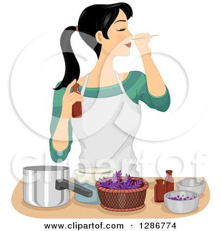Clipart of a Young Asian Woman Making Her Own Homemade Perfume - Royalty Free Vector Illustration by BNP Design Studio