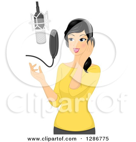 Clipart of a Young Asian Woman Singing in a Music Studio - Royalty Free Vector Illustration by BNP Design Studio