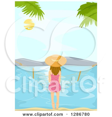 Clipart of a Rear View of a White Woman Sitting on a Hammock on a Beach - Royalty Free Vector Illustration by BNP Design Studio