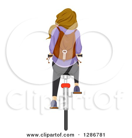 Clipart of a Rear View of a Dirty Blond White Teenage School Girl Riding a Bicycle - Royalty Free Vector Illustration by BNP Design Studio