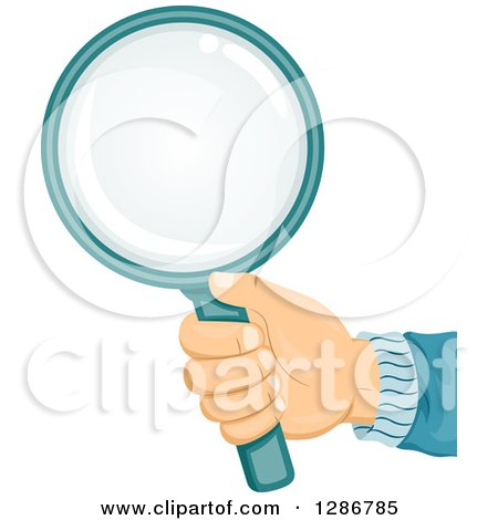 Clipart of a White Haand Holding out a Magnifying Glass - Royalty Free Vector Illustration by BNP Design Studio