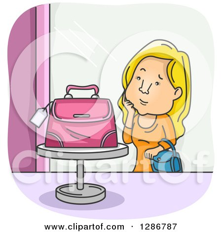 Clipart of a Cartoon Blond Woman Admiring a Pink Purse on a Store Display - Royalty Free Vector Illustration by BNP Design Studio