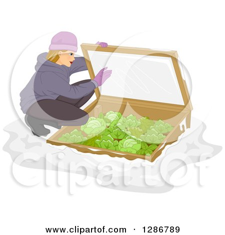 Clipart of a Blond White Woman Checking on Her Cold Frame Garden with Cabbage - Royalty Free Vector Illustration by BNP Design Studio