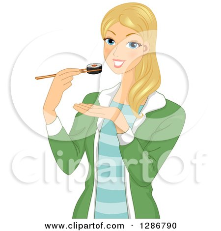 Clipart of a Happy Blond White Woman Eating a Maki Sushi Roll with Chopsticks - Royalty Free Vector Illustration by BNP Design Studio