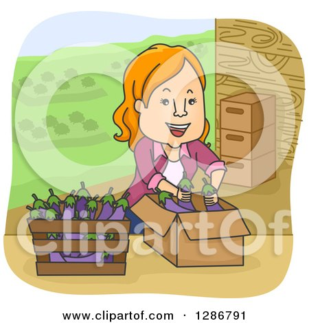 Clipart of a Happy Cartoon Red Haired White Woman Boxing Eggplants on a Farm - Royalty Free Vector Illustration by BNP Design Studio