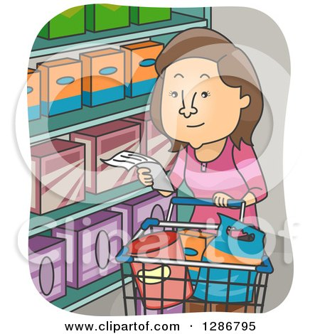 Clipart of a Cartoon Brunette White Woman Grocery Shopping with a List - Royalty Free Vector Illustration by BNP Design Studio
