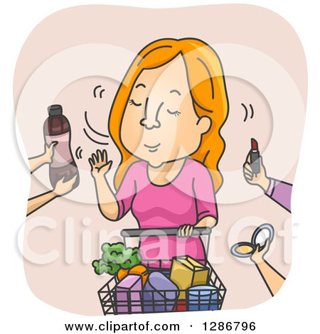 Clipart of a Cartoon Red Haired White Woman Refusing Offered Products at a Supermarket - Royalty Free Vector Illustration by BNP Design Studio