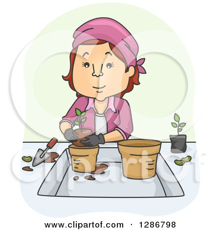 Clipart of a Cartoon Caucasian Woman Transfering Plants - Royalty Free Vector Illustration by BNP Design Studio