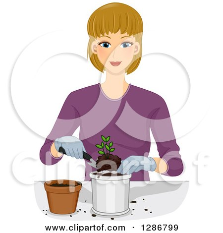 Clipart of a Happy Blond White Woman Transplanting a Seedling - Royalty Free Vector Illustration by BNP Design Studio