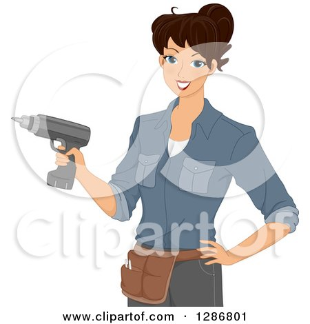 Clipart of a Happy Brunette White Woman Wearing a Tool Belt and Using a Power Drill - Royalty Free Vector Illustration by BNP Design Studio