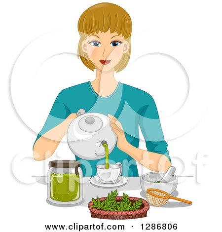 Clipart of a Happy Dirty Blond White Woman Making Organic Tea - Royalty Free Vector Illustration by BNP Design Studio