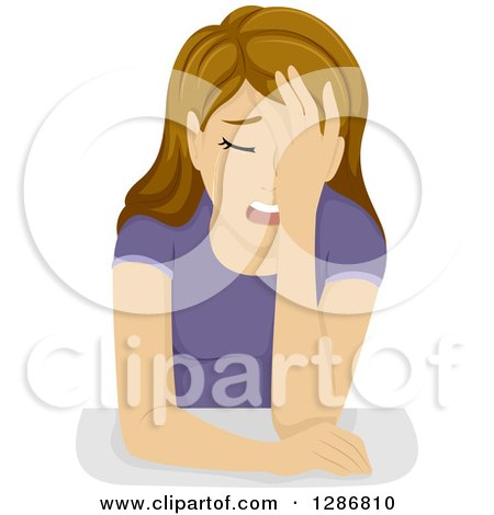 Clipart of a Crying Teenage White Girl - Royalty Free Vector Illustration by BNP Design Studio