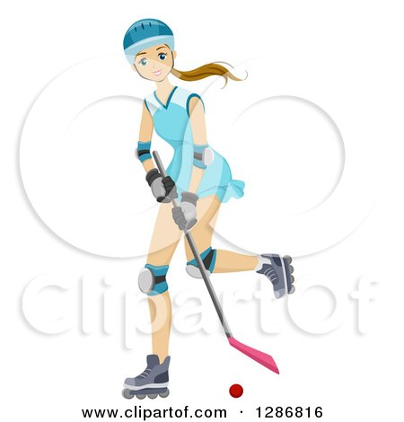 Clipart of a Blond White Teenage Roller Hockey Player Girl - Royalty Free Vector Illustration by BNP Design Studio