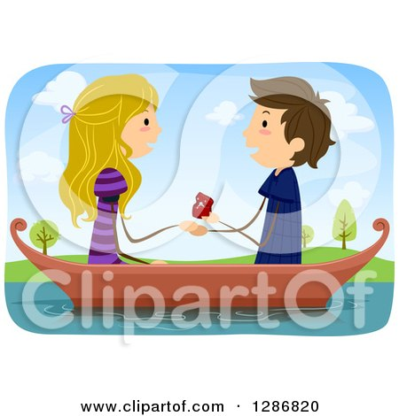 Clipart of a Caucasian Stick Couple with the Man Proposing to a Woman in a Boat - Royalty Free Vector Illustration by BNP Design Studio