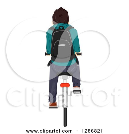 Clipart of a Rear View of a Brunette White Teenage Boy Riding a Bike to School - Royalty Free Vector Illustration by BNP Design Studio