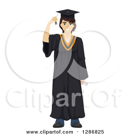Clipart of a Happy Brunette White Male Graduate in a Gown - Royalty Free Vector Illustration by BNP Design Studio