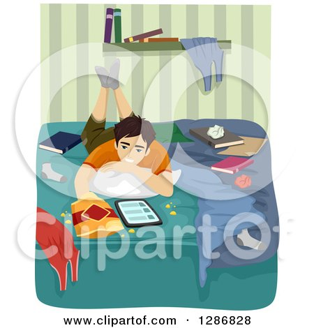 Clipart of a Teenage Boy Usinga Tablet Computer and Snacking in His Messy Bedroom - Royalty Free Vector Illustration by BNP Design Studio