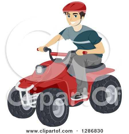 Clipart of a Happy Young Caucasian Man Riding a Quad - Royalty Free Vector Illustration by BNP Design Studio