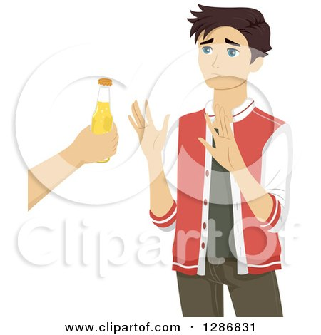 Clipart of a Brunette White Teenage Boy Refusing an Offer of Alcohol - Royalty Free Vector Illustration by BNP Design Studio
