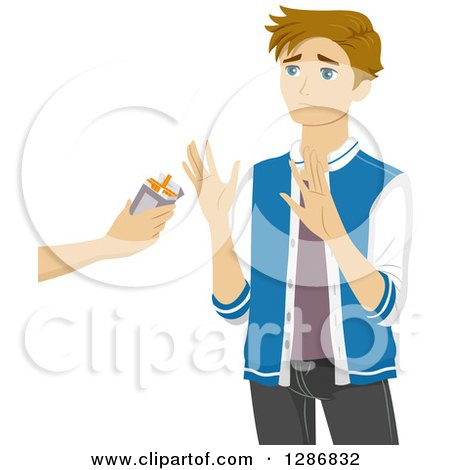 Clipart of a Blond White Teenage Boy Refusing an Offer of Cigarettes - Royalty Free Vector Illustration by BNP Design Studio