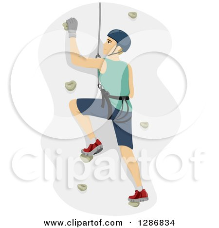 Clipart of a Dirty Blond White Man Climbing a Wall in a Harness - Royalty Free Vector Illustration by BNP Design Studio