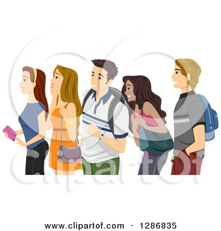 Clipart of a Diverse Group of Excited Teenagers or College Students Waiting in Line - Royalty Free Vector Illustration by BNP Design Studio