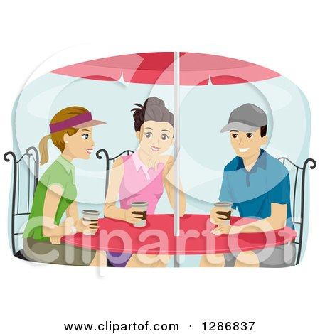 Clipart of a Group of Preppy Teenagers Drinking Coffee at a Table - Royalty Free Vector Illustration by BNP Design Studio