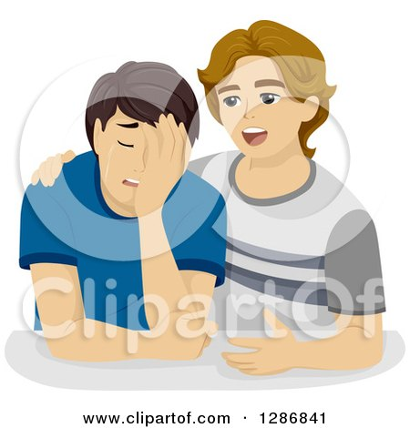 Clipart of a Despaired White Boy Crying and Being Comforted by a Friend - Royalty Free Vector Illustration by BNP Design Studio